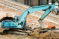 Operating excavator Royalty Free Stock Photos