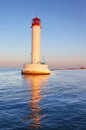 Operating lighthouse in odessa the evening ukraine black sea Stock Photos