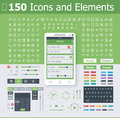 Operating system interface elements set of the simple mobile os icons Stock Photography