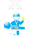 Operation good solution bad ideas illustration a doctor sorting out from from a patient resting on an table Royalty Free Stock Photography