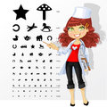 Ophthalmologist shows childrens table for eye test woman doctor tests Royalty Free Stock Image