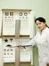 Ophthalmologist testing  eyesight Stock Photos