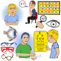 Ophthalmology color set of different related images Stock Images