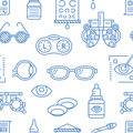 Ophthalmology, eyes health care seamless pattern, medical vector blue background. Optometry equipment, contact lenses Royalty Free Stock Photo