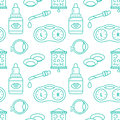Ophthalmology, eyes health care seamless pattern, medical vector blue background. Optometry equipment, contact lenses