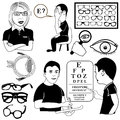 Ophthalmology set vector illustrations black and white Royalty Free Stock Photo