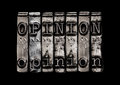 Opinion concept type on black Royalty Free Stock Images