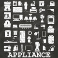 Opject in home appliance icons painted by chalk on blackboard Royalty Free Stock Photography