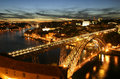 Oporto and the douro river a beuatiful view of portugal at night Stock Photography