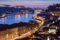 Oporto douro river and porto view at dusk portugal Stock Image