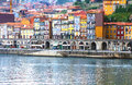 Oporto ribeira portugal famous landmark with its old docks and ancient rabelo boats used to transport port wine from vineyards Stock Photo