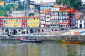 Oporto ribeira portugal famous landmark with its old docks and ancient rabelo boats used to transport port wine from vineyards Stock Photos
