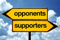Opponents or supporters opposite signs two opposite road signs against blue sky background Stock Images