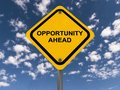 Opportunity ahead sign yellow with blue sky and cloudscape background Royalty Free Stock Photography