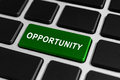 Opportunity button on keyboard green business financial concept Stock Photography