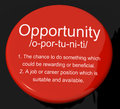 Opportunity Definition Button Showing Chance Possibility Or Care Royalty Free Stock Photo