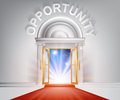 Opportunity red carpet door concept of a fantastic white marble with columns and a with light streaming through it Stock Photos