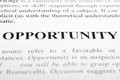 Opportunity the word shot with artistic selective focus Stock Photos
