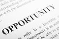 Opportunity the word shot with artistic selective focus Stock Photography