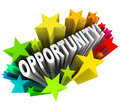 Opportunity word in starburst exciting new changes the arises d from a burst of colorful stars representing an chance for change Royalty Free Stock Photography