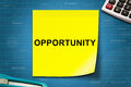 Opportunity word on yellow note text with graph paper Royalty Free Stock Images