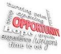 Příležitost slova zkušenost šance nový zahájení