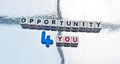 Opportunity for you text with uppercase letters inscribed on small white cubes and the blue number replacing silver background Stock Photo