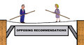 Opposing recommendations business illustration showing two businesspeople facing each other on a tightrope Stock Photos