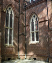 Opposing windows in a brick church located in a civil war era cemetary Stock Image