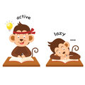 Opposite active and lazy illustration