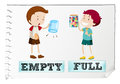 Opposite adjectives with empty and full Royalty Free Stock Photo