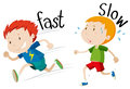 Opposite adjectives fast and slow Royalty Free Stock Photo