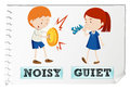 Opposite adjectives noisy and quiet illustration Stock Photo