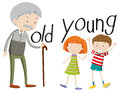 Opposite adjectives old and young Royalty Free Stock Photo
