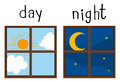 Opposite wordcard for day and night Royalty Free Stock Photo