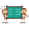 Opposite words stupid and clever vector Royalty Free Stock Photo