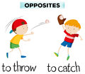 Opposite words with throw and catch Royalty Free Stock Photo