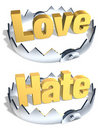 Opposites Love/Hate Trap Stock Photo