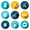Opposition flat icon set on a colored background Royalty Free Stock Photo