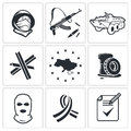 Opposition icon collection set on a white background Royalty Free Stock Photos