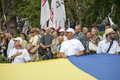 Opposition rally in independence day of ukraine in kiev august Royalty Free Stock Images