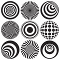 Optical art in black and white nine elements Royalty Free Stock Photo