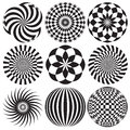 Optical art in black and white nine elements Royalty Free Stock Image