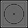 Optical art. Geomrtric black and white abstract illusion. Vector