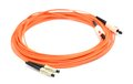 Optical cable orange on the white background macro shot Stock Photos