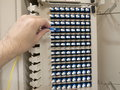 Optical fiber patch panel with a human hand Stock Image