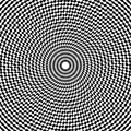 Optical illusion art abstract background. Black and white monochrome geometrical hypnotic circle pattern.