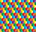 Optical illusion colorful abstract vector cube an and squares background beautiful concept Stock Photography