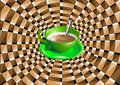 Optical illusion with a green cup drink Royalty Free Stock Photography