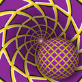 Optical illusion illustration. A ball is moving on rotating yellow background with purple quadrangles